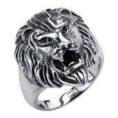 Black Oxidized Lion Head Ring