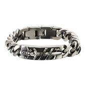 Black Oxidized Sword ID Curb Chain Link Bracelet