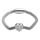 Crystal Heart Mesh Bracelet