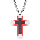 Dark Red with Black Oxidized Cross Pendant