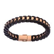Rose Gold IP Matte Finished with Black Leather Thread Bracelet