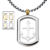 4-Way Gold IP & Steel Anchor Dog Tag Pendant