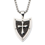 Shield & Cross with Black IP Pattern Pendant with 24 inch Chain