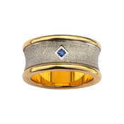 Gold IP and Stainless Steel Sandblast Finish with Sapphire Gemstone Ring