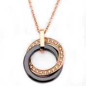 Rose Gold IP Black Ceramic with CZ Double Circle Pendant