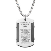 Black IP & Steel Etched with Serenity Prayer Dog Tag Pendant