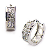 Hip Hop Studs Earrings with Clear CZ Stone