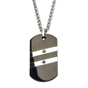 Two Line Sideways Steel with Sapphire Gem Dog Tag Pendant with Chain