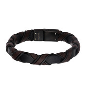 Black IP Clasp with Woven Black and Dark Brown Leather Bracelet