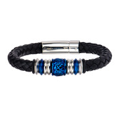Steel and Blue IP Bead in Black Braided Leather Bracelet