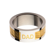 Gold IP Band with DAD Engraved Ring