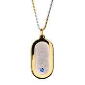 Gold IP and Sandblast with Sapphire Gemstone Dog Tag Pendant in Two Tone Chain
