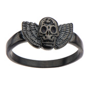 Black IP Skull with Wings Ring