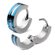 Stainless Steel Blue IP Huggies Earrings