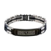 Black IP Lord's Prayer ID Link Bracelet