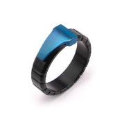 Blue IP Triangle & Black IP Groove Line Ring