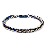 Blue IP Rounded Franco Chain Bracelet with Lobster Claw Clasp