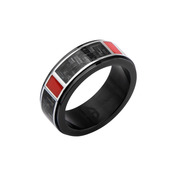 Hollis Bahringer Men's Black IP with Carbon Fiber Weave Ring