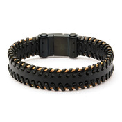 Black Leather with Rose Gold IP Cable Edge Bracelet