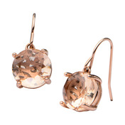 Rose Gold IP Glass Dangle Earrings