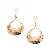 IP Rose Gold Flower Filigree Teardrop Earrings