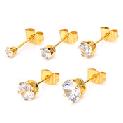 IP Gold Steel Stud with Clear CZ