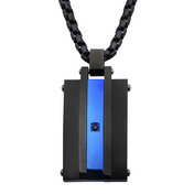Matte Finished IP Black & IP Blue with Black CZ Pendant