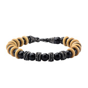 8mm Polished Black Onyx Beads with Taupe Wood Separators Bracelet