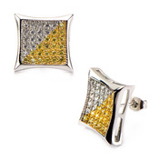 Square Kite Hip Hop Studs Earrings with Clear & Yellow CZ Stone