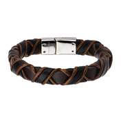 Clasp with Woven Black and Light Brown Leather Bracelet