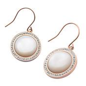 Rose Gold IP with Preciosa Crystal Hook Dangle Earrings