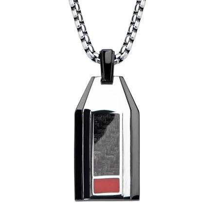 Hollis Bahringer Men's Carbon Fiber Weave Dog Tag Pendant  with Chain picture
