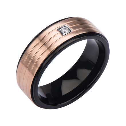 Two-tone Black IP and Rose Gold IP in 3 Lines with Clear Gem Top Ring picture
