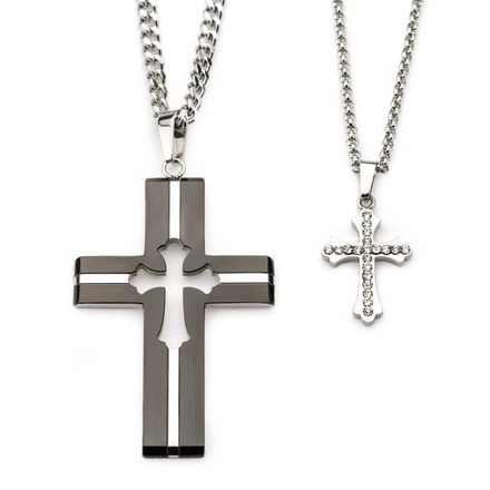 Stainless Steel His and Her Clear CZ Gem Cross Pendant Set picture