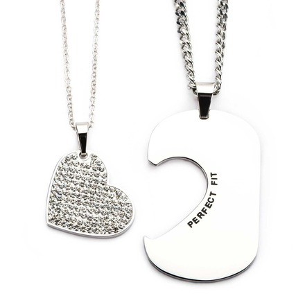 Stainless Steel His and Her Clear CZ Gem Heart and Dog Tag Pendant Set picture