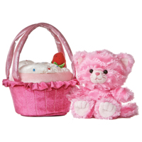 "8"" PINK KITTY WITH STRAWBERRY CARRIER picture"