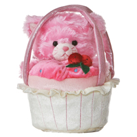 "8"" PINK KITTY WITH VANILLA CARRIER picture"
