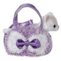 "6.5"" CURLY PET CARRIER - LAVENDER"