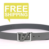 Italian Leather Belt - Gray
