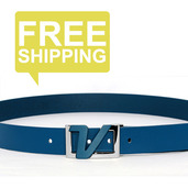 Italian Leather Belt - Navy