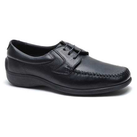 Malta Comfort Moc Toe Lace Up in Black Leather picture