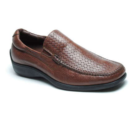 Palermo Woven Vamp Slip On in Walnut Leather picture