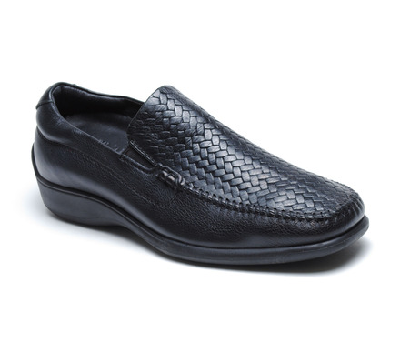 Palermo Woven Vamp Slip On in Black Leather picture