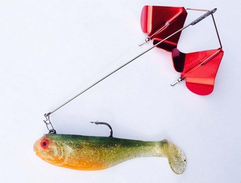 """Ambitious Buzz - 6"""" Wire 4"""" bait #505 Sunfish / Red Blade picture"""