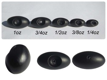 TG Sliding Football Sinker Black 3/8oz - 2 Per Pack picture