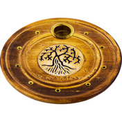 Wood Round Cone Burner  Tree of Life  (Each)