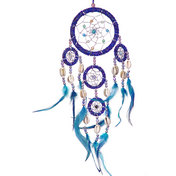 Dreamcatcher Beaded  Blue Feathers Iridescent Blue