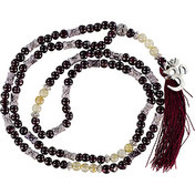 Gemstone Mala  Om Garnet & Golden Rutile (Each)