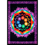 Cotton Single Tapestry  Rainbow Chakra  (Each)