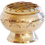 Brass Incense Burner w/Grid Engraved Flowers (Each)